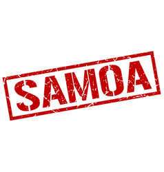 Samoa red square stamp vector