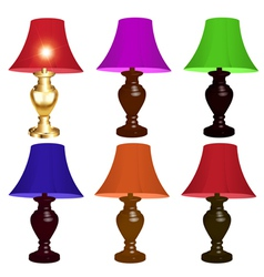 Set of colored table lamps vector