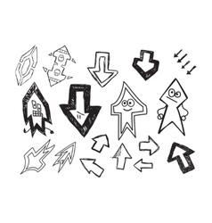 Set of fun hand drawn character arrows vector image