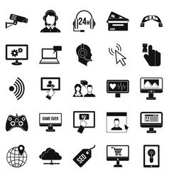 web design icons set simple style vector image vector image