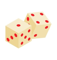 White dice isometric 3d icon vector