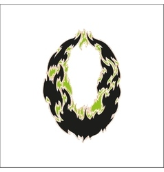 Fiery font black and green number 0 on white vector
