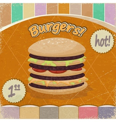 Vintage background with the image of big hamburger vector image