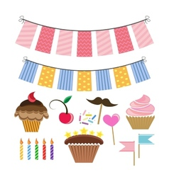 set with icons for celebration vector image