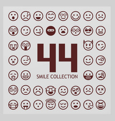 Outline smiles collection 44 emoji vector