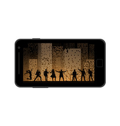 Watching photoes on mobile device concept flat vector