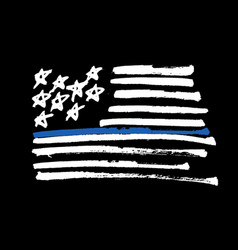 Hand drawn american flag thin blue line vector