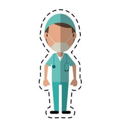 cartoon male surgeon medical professional vector image