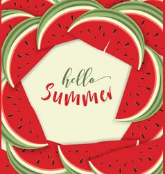 Hello summer card with melon vector