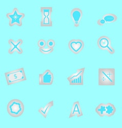 Idea symbol icons sticker on blue background vector