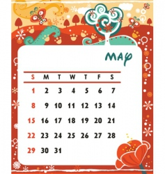 calendar may vector image