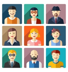 Flat round avatar icons faces people icons vector