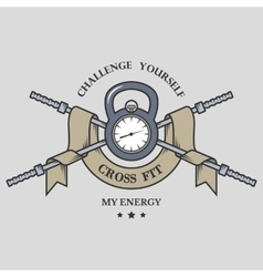 Training on time fitness emblem vector