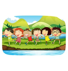 Children playing in the nature vector image