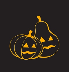Couple pumpkins for halloween black background vector