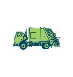 Garbage truck rear end loader side woodcut vector