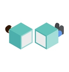 Magician sawing box isometric 3d icon vector