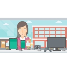 Woman looking at shop window vector