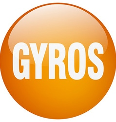 Gyros orange round gel isolated push button vector