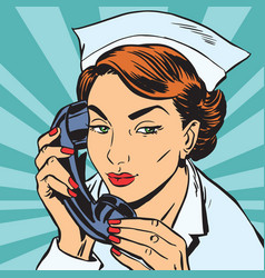 avatar portrait of a nurse with the phone vector image vector image