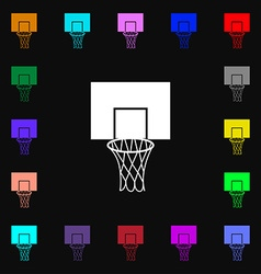 Basketball backboard icon sign lots of colorful vector