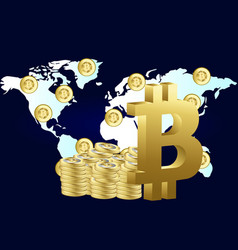 bitcoin around the world flat style design vector image