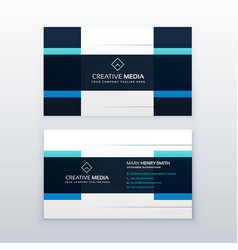 blue business card design template in clean style vector image