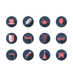 Carnival round flat icons set vector