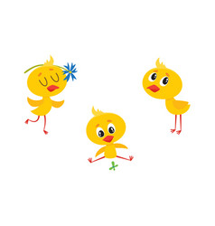Cartoon cute chicken characters set vector