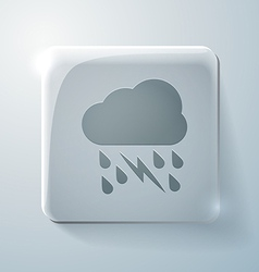 Cloud rain lightning glass square icon vector