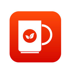 Cup of tea icon digital red vector