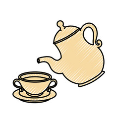 cute teapot kitchenware vector image