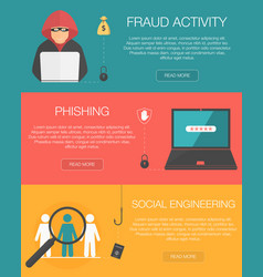 cyber crime horizontal banners with fraud vector image