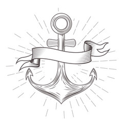 emblem with vintage anchor and wavy banner vector image vector image