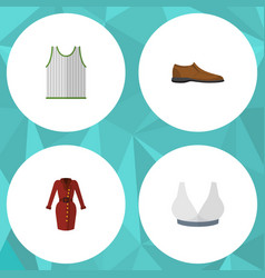 Flat icon garment set of male footware singlet vector