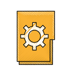 Folder file archive gear work solution icon vector