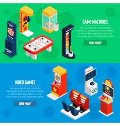Game machines 2 isometric banners set vector