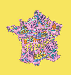handdrawn map of france vector image vector image