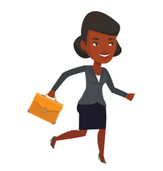 happy business woman running vector image vector image