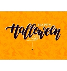 Happy Halloween lettering with detailed vector image