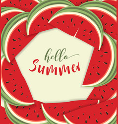 Hello summer card with melon vector