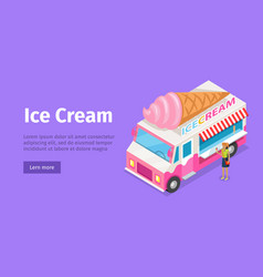 Ice cream truck in isometric projection vector