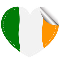 ireland flag in heart shape vector image vector image
