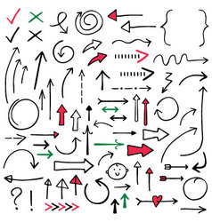 Isolated doodle arrows set vector