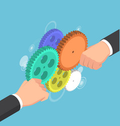 isometric businessman hands connecting gear vector image