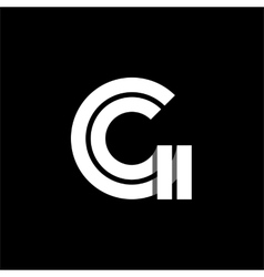 Letter G wide white stripes Logo monogram emblem vector image