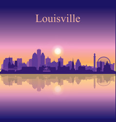 Louisville city silhouette on sunset background vector