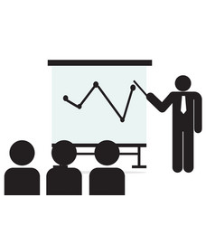 Man and group meeting with board isolated symbol vector