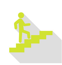 Man on stairs going up pear icon with flat style vector