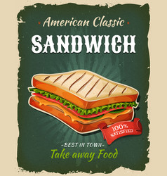 Retro fast food sandwich poster vector